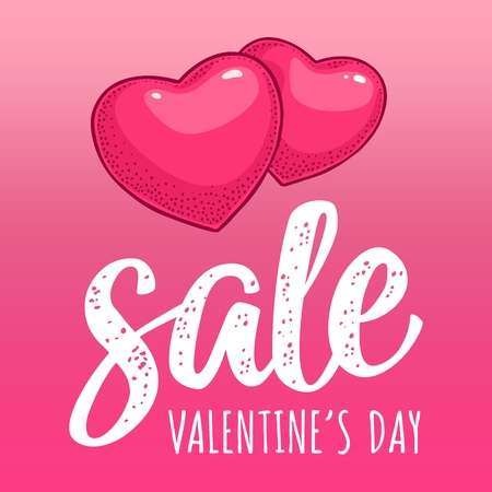 Two heart. Sale Valentines Day calligraphic handwriting lettering. Vector color vintage engraving illustration on magenta mesh background. For discount sticker 向量圖像