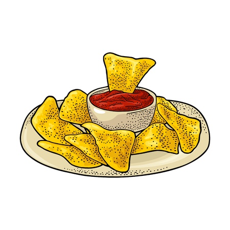 Nachos chips with ketchup in pan - mexican traditional food. Vector black vintage engraving illustration for menu, poster, web. Isolated on white background  イラスト・ベクター素材