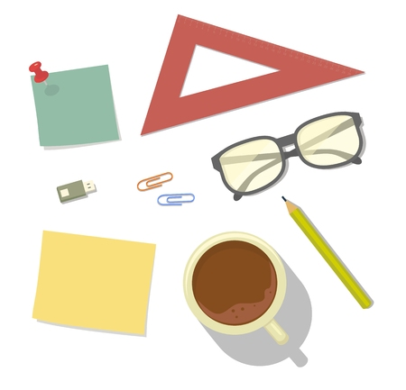 Glasses, pencil, ruler, clip, paper. Top view. Vector flat color illustration isolated on white background