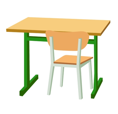 School desk and a chair. Vector flat color illustration isolated on white background.