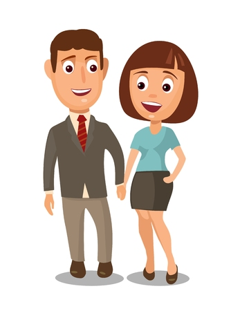 Couple holding hands. Color flat vector illustration isolated on white background