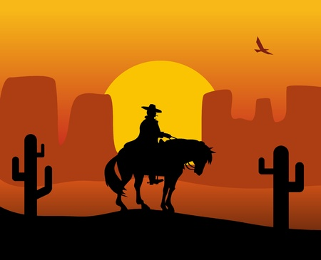 Wild west gunslinger in a raincoat riding a horse. Background the desert. Color flat vector illustration
