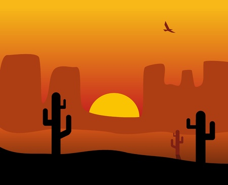 Panorama sunset desert with cactus , sun, bird. Vector flat color illustration. For banner sea. Vector flat horizontal color illustration. For horizontal banner
