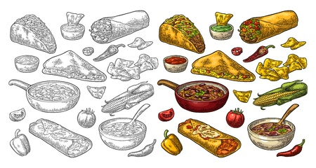 Mexican traditional food set with Guacamole, Quesadilla, Enchilada, Burrito, Tacos, Nachos, chili con carne with ingredient. Vector vintage color and black engraving illustration isolated on white Vector Illustration
