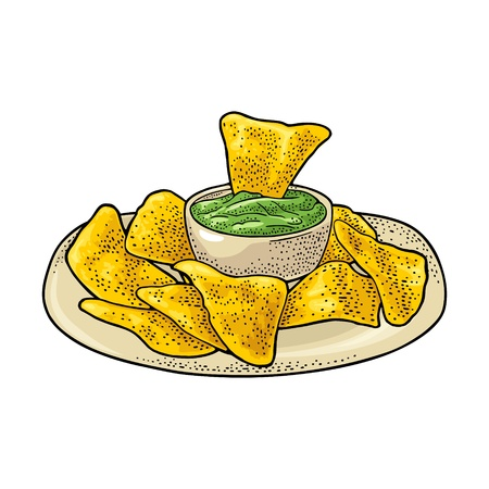 Nachos chips with guacamole in pan - mexican traditional food. Vector color vintage engraving illustration for menu, poster, web. Isolated on white background