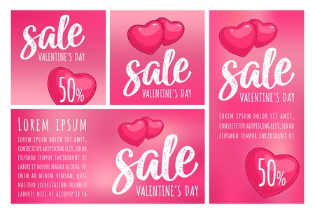 Two heart. Sale Valentines Day calligraphic handwriting lettering. Vector color vintage engraving illustration on magenta mesh background. For discount vertical, horizontal and square sticker