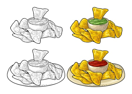 Nachos chips with guacamole and ketchup in pan - mexican traditional food. Vector color vintage engraving illustration for menu, poster, web. Isolated on white background  イラスト・ベクター素材