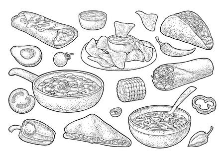 Cibo tradizionale messicano con Guacamole, Quesadilla, Enchilada, Burrito, Taco, Nachos, chili con carne con ingrediente. Illustrazione di incisione nera dell'annata di vettore isolata su priorità bassa bianca.