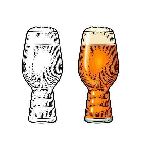 Beer Classics IPA Glas. Vintage color vector engraving illustration. Isolated on white background.