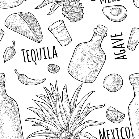 Seamless pattern of bottle, glass tequila, salt, cactus and slice lime on white background. Vintage black vector engraving illustration for label, poster, web, invitation to party. Vettoriali