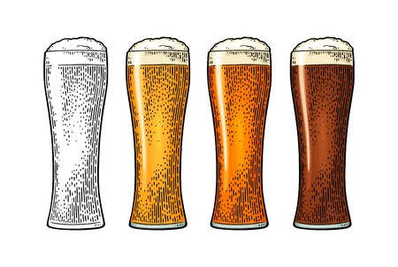 Glass with different types beer - lager, ale, porter. Vintage color engraving Illustration