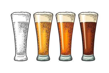 Glass with different types beer - lager, ale. Vintage color engraving Banque d'images - 118015118