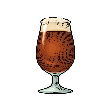 Beer porter glass with foam. Vintage color engraving Stock Illustratie