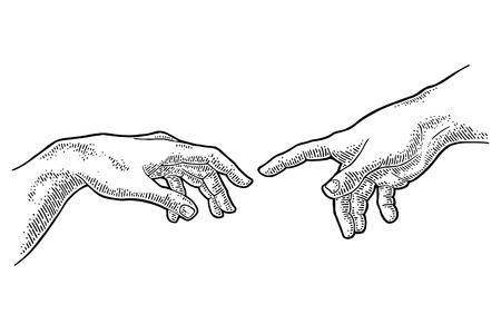 Męski palec wskazujący dotykać ręką Boga. Stworzenie Adama. Ilustracje wektorowe