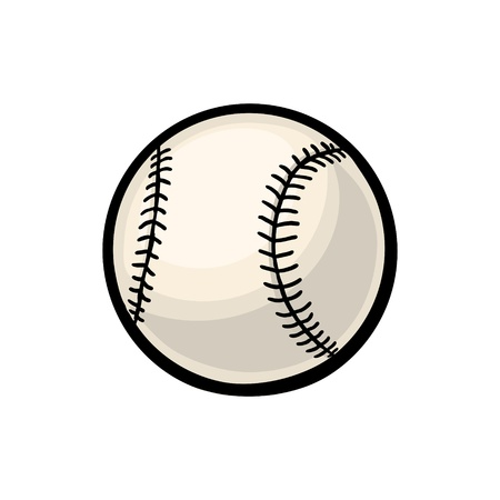 Baseball ball. Vector color illustration. Isolated on white background. Hand drawn design element for label and poster
