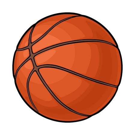 Basketball ball. Vector color illustration. Isolated on white background. Hand drawn design element for label and poster