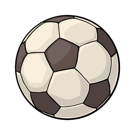 Soccer ball. Vintage vector color illustration. Isolated on white background