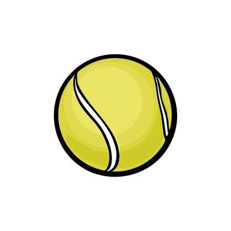 Tennis ball. Vector color illustration. Isolated on white background. Hand drawn design element for label and poster