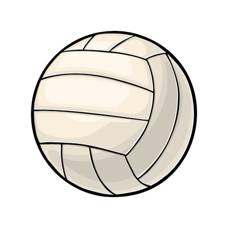 Volleyball ball. Vintage vector color illustration. Isolated on white background. Hand drawn design element for label and poster Ilustração
