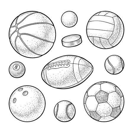 Set different kinds sport balls icons. Engraving vintage vector black illustration. Isolated on white background. Hand drawn design element for label and poster Illustration
