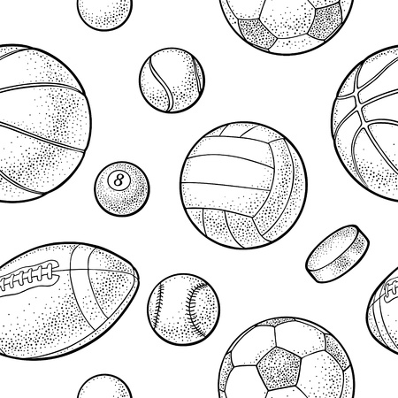 Seamless pattern different kinds sport balls isolated on white background. Vintage black vector engraving illustration for label, poster, web.