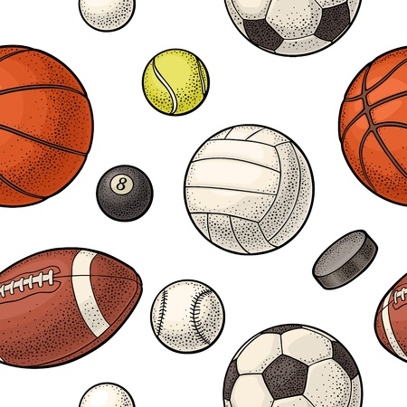 Seamless pattern different kinds sport balls isolated on white background. Vintage color vector engraving illustration for label, poster, web.