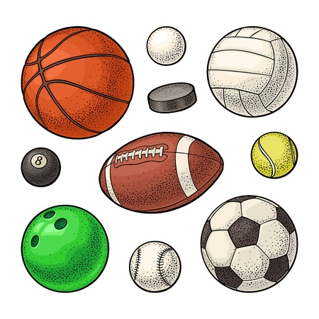 Set different kinds sport balls icons. Engraving vintage vector color illustration. Isolated on white background. Hand drawn design element for label and poster