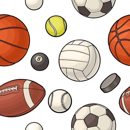 Seamless pattern different kinds sport balls isolated on white background. Vintage color vector flat illustration for label, poster, web.