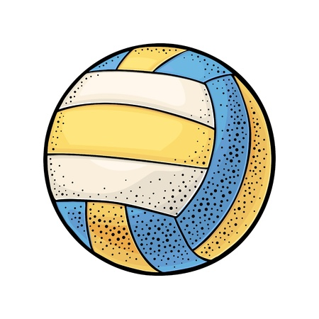Water polo ball. Vintage engraving vector color illustration. Isolated on white background. Hand drawn design element for label and poster