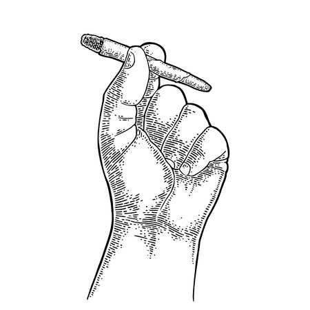 Männliche Hand, die brennende Zigaretten mit Marihuana hält Gravur Vintage schwarz Vektorgrafik. Isoliert auf weißem Hintergrund. Handgezeichnetes Gestaltungselement für Etikett und Poster.