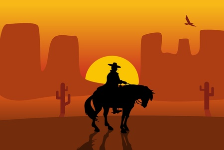 Wild west gunslinger in a raincoat riding a horse. Background the desert. Color flat vector illustration 版權商用圖片 - 125270669