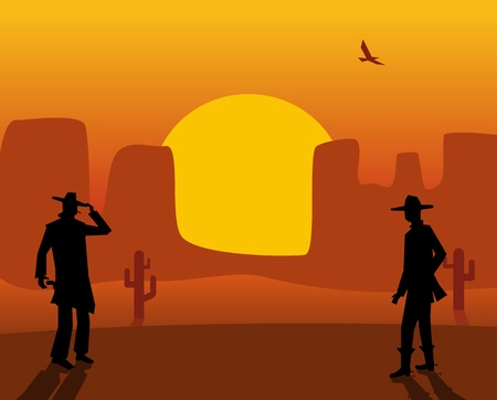 Two gunslingers duel. Desert sunset. Color flat vector illustration 向量圖像