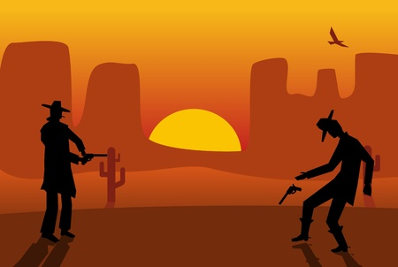 Two gunslingers duel. Desert sunset. Color flat vector illustration Illustration