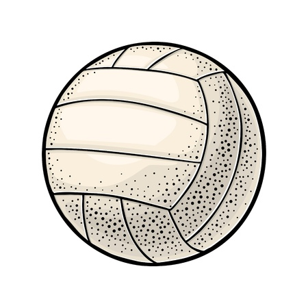 Volleyball ball. Vintage engraving vector color illustration. Isolated on white background. Hand drawn design element for label and poster