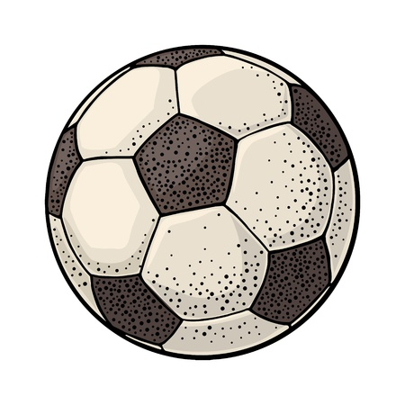 Soccer ball. Vintage vector engraving color illustration. Isolated on white Stock Illustratie