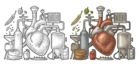 Brewery process on factory with tanks, ear, hops, burner. Heart in the center of the production. Isolated on white background. Vintage vector color engraving illustration for poster, label craft beer