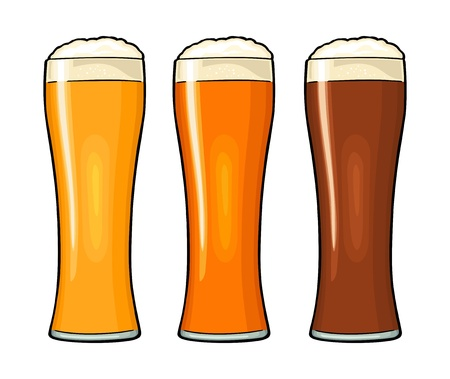 Glass with different types beer - lager, ale. Vintage color flat illustration