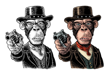 Monkey gentleman holding a revolver and dressed in a hat, suit, waistcoat. Vintage color and black engraving illustration. Hand drawn design element for t-shirt and poster isolated on white background