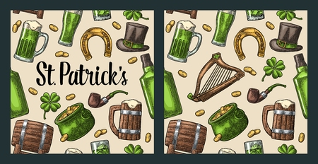 Seamless pattern Saint Patrick s Day. Top gentleman hat, pot of gold coins, pipe, beer glass, lyre, horseshoe, clover, barrel. Vector vintage color engraved illustration isolated beige background.