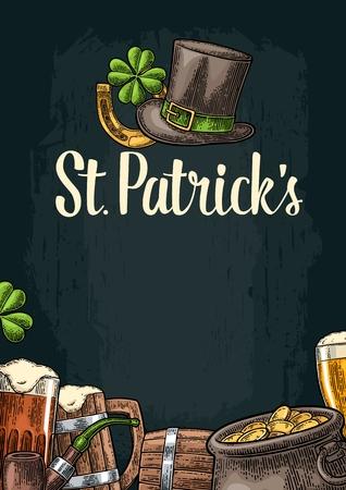 Vertical poster for Saint Patrick s Day. Top gentleman hat, pot of gold coins, pipe, beer glass, lyre, horseshoe, clover and barrel. Vector vintage color engraved illustration on dark background.