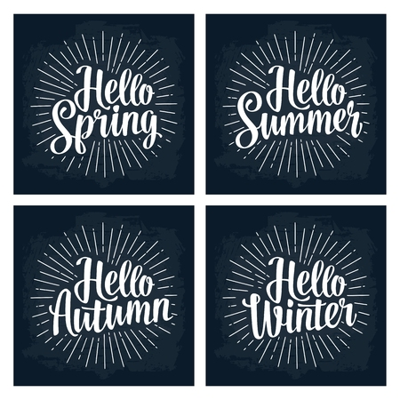 Four seasons stickers set. Hello Winter, Spring, Summer, Autumn lettering Ilustracja