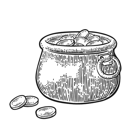 Pot of gold coins. Vector engraving vintage black illustration isolated on white background.