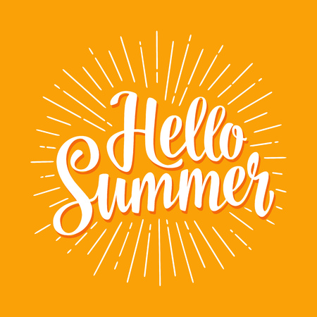 Hello summer hand drawn lettering with rays. Vector color illustration. Isolated on yellow background.