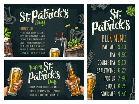 Poster and price menu with tap, glass, bottle, hop branch with leaf, ear of barley, barrel, tanks from brewery factory. Happy Saint Patrick's Day lettering. Vintage vector color engraving on dark