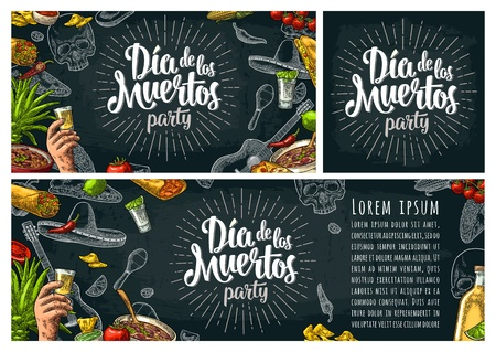 Dia de los Muertos lettering and mexican traditional food Illustration