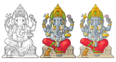 Ganpati with mouse for poster Ganesh Chaturthi. Engraving vintage vector
