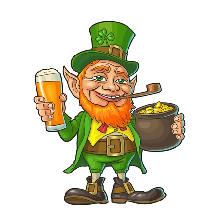 Leprechaun holding beer glass and pot of gold coins. Vector color illustration. Isolated on white background. For Saint Patricks Day poster.