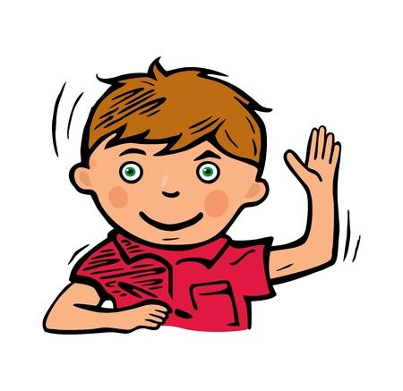 El colegial sonrió y levantó la mano para responder. Ilustración de color vectorial aislado sobre fondo blanco. Ilustración de vector
