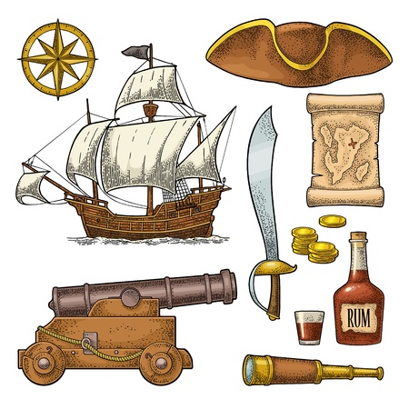 Set pirate adventure. Cannon, rum bottle, coins, saber, map, caravel, compass rose, spyglass, tricorn isolated on white background. Vector color vintage engraving