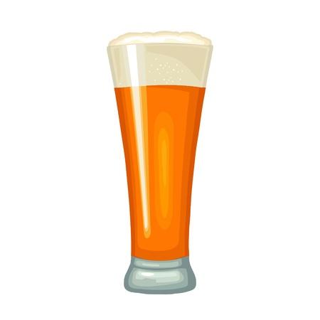 Bicchiere con birra. Icona piana di colore di vettore. Isolato su sfondo bianco. Vettoriali